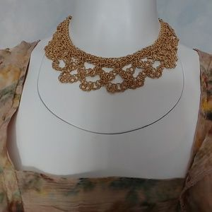 Gorgeous Gold Crochet Style Necklace NWOT